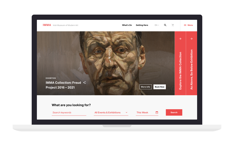 IMMA homepage in macbook